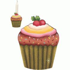 Porta vela cupcake com cereja