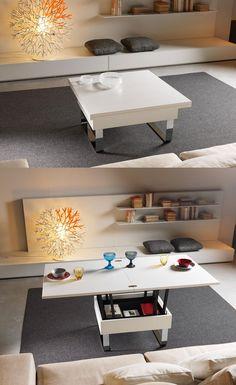 table gain de place dans le salon- table basse relevable et extensible à la fois