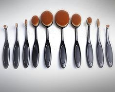 10 Pcs Soft Oval Toothbrush Makeup Brush Sets Foundation Brushes Cream Contour Powder Blush Concealer Brush Makeup Cosmetics Tool Set 2016 New Professional -- Read more  at the image link.