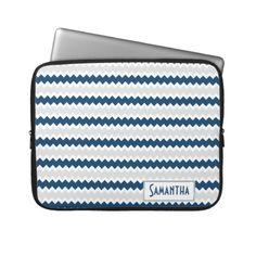 Gray Navy White Zigzag Pattern Personalized