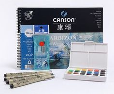 SAKURA Solid Water Color Paint 18/24/30 Colors Sets,Solid Water Color+Needle Pen+Water Brush+Watercolor Paper with gift