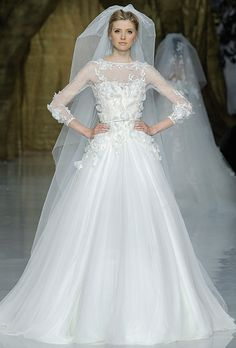 Pronovias - Spring 2014 - Lacerta Tulle and Lace Ball Gown Wedding Dress with Illusion Neckline and 3/4 Sleeves |