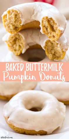 easy Baked Pumpkin Donuts have a spiced maple glaze on top, making these buttermilk pumpkin donuts the quintessential fall dessert recipe! This is such an easy baked donut recipe too! Homemade pumpkin donuts have got fall dessert written all over them. Baked Donut Recipes, Baked Doughnuts, Baking Recipes, Donuts Donuts, Baked Pumpkin Donut Recipe, Baked Buttermilk Donuts Recipe, Baked Sour Cream Donut Recipe, Healthy Baked Donuts, Buttermilk Dessert Recipes