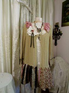 Upcycled Bohemian Sweater vintage cotton crochet von GrandmaDede