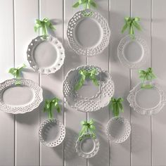 This is how I plan on displaying my milk glass plates ~ with black ribbon on a taupe wall