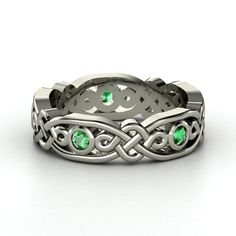 18K White Gold Ring with Emerald | Brilliant Alhambra Band | Gemvara