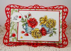 Twinshappy: Everything's Rosy digital stamp set by Power Poppy, card design by Stacy Morgan.