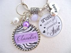 AUNT GIFT Mother necklace personalized Purple by MyBlueSnowflake, $27.50