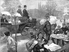 Οι θαμώνες του καφενείου Ζαχαράτου γυρίζουν επιδεικτικά την πλάτη τους στην άμαξα που μεταφέρει τη βασιλική οικογένεια, σε ένδειξη διαμαρτυρίας για όσα συνέβησαν στον ατυχή Ελληνοτουρκικό Πόλεμο  του 1897.   ManiVoice Greece Painting, Google, Art, Belle Epoque, Art Background, Painting Art, Kunst, Paintings, Performing Arts