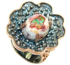 $60.15 Perfect+Mexican+Fire+Opal,+Rose+Gold+Plated,+Rhodium+Plated+Sterling+Silver++Ring+s.+8 at www.SilverRushStyle.com #ring #handmade #jewelry #silver #opal