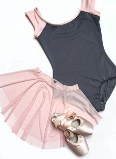 LOVE Ballet Pink and Charcoal Gray   Royall Dancewear mesh skirt   Mariia leo