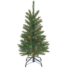 National Tree Company 3 ft. Kingswood Fir Wrapped Pencil Artificial Christmas Tree with Clear Lights-KW7-300-30 - The Home Depot