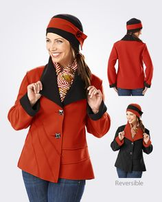 Eliza Jacket made of fleece and is reversible! Available at Primal Eye in Green Bay, WI