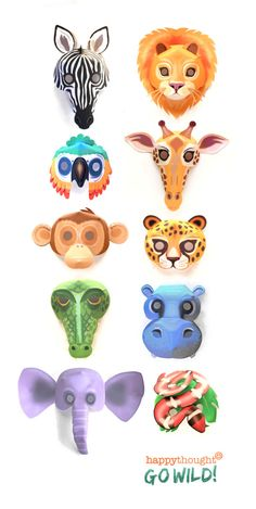 DIY wild animal masks to print and make - Printable wild animal mask templates to download and make for a jungle party! Animal Masks For Kids, Mask For Kids, Vbs Crafts, Crafts For Kids, Animal Mask Templates, Printable Animal Masks, Zebra Mask, Lion King Broadway, Lion Mask