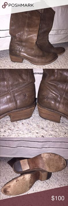Frye Mid Calf Brown Boots These are awesome boots.  Just got another pair of Fryes so need to clear out space!!!  Minor wear and a few scuff marks however they are in excellent shape and Frye has a worn look to begin with.  You will love these. Frye Shoes Heeled Boots