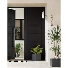 Shop the look en 2019 double front doors, wood front doors et doors. Black Exterior Doors, Black Front Doors, Double Front Doors, Modern Front Door, Wood Front Doors, Front Door Entrance, Door Entryway, House Entrance, Modern Entrance Door