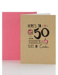 50th Birthday Slice of Cake Card | M&S
