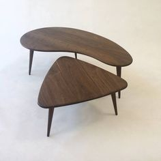 Nesting Kidney Bean + Guitar Pick Coffee Tables - Mid-Century Modern - Atomic Era Design In Solid Walnut with Solid Walnut Tapered Legs
