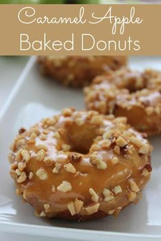 Caramel Apple Baked Donuts – Saving Dollars & Sense Caramel Apple Baked Donuts are the perfect fall recipe. Baked not fried, with fresh apples covered in caramel sauce makes this treat the perfect breakfast dessert or snack. Apple Dessert Recipes, Fall Desserts, Apple Recipes, Fall Recipes, Baking Recipes, Cookie Recipes, Kiwi Recipes, Lunch Recipes, Homemade Baked Donuts