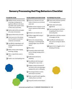 Sensory processing Red Flags Checklist Tap the link to check out fidgets and sensory toys! Sensory Processing Disorder Symptoms, Sensory Disorder, Auditory Processing, Sensory Diet, Sensory Issues, Autism Sensory, Sensory Activities, Sensory Toys, Sensory Motor