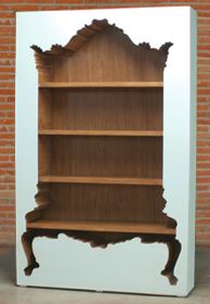 pol art cut out bookshelf... comes in 8 colors... completely obsessed.
