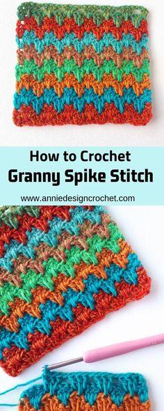 Granny Spike Stitch Crochet Tutorial – Annie Design Crochet 5 Ideas for Knitting With Lace Crochet Dishcloths, Crochet Yarn, Free Crochet, Crochet Girls, Crochet Tutorial, Crochet Instructions, Crochet Stitches Patterns, Crochet Designs, Point Granny Au Crochet