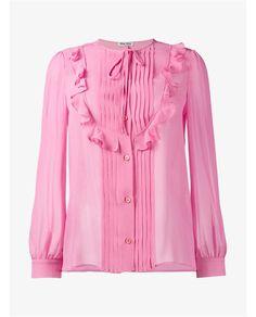 MIU MIU Ruffle Embellished Silk Blouse. #miumiu #cloth #