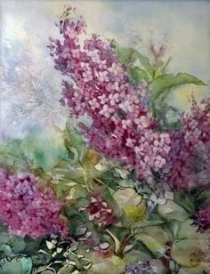 """Painting (""""That Overgrown Lilac Bush"""") on porcelain tile by jewelry and porcelain artist, Bonny Eberly"""