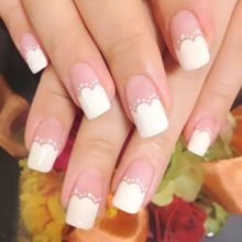 Simple 24pcs/set White wavy pattern design false nails Middle-long size lady full nail tips Full coverage Patch art tool bride //FREE Shipping Worldwide //