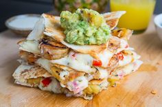 Jerk Shrimp and Pineapple Salsa Quesadillas -- must. make. these.