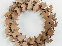 Cardboard Safari Cardboard Leaf Wreath – Welcome My World Fall Door Decorations, Fall Decor, Fall Crafts, Diy And Crafts, Diy Paper, Paper Crafts, Christmas Wreaths, Christmas Crafts, Art Origami