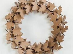 Recycled Cardboard Autumn Leaf Wreath - use as a centerpiece for your fall wedding!  | Green Bride Guide