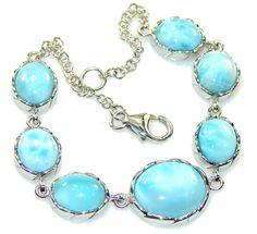 $128.15 Amazing Light Blue Larimar Sterling Silver Bracelet at www.SilverRushStyle.com #bracelet #handmade #jewelry #silver #larimar