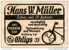 Original-Werbung/ Anzeige 1949 - MARKEN- FAHRRAD MÜLLER / OHLIGS - ca. 45 x 35 mm