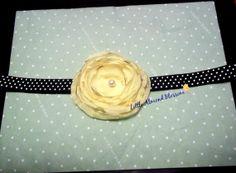 Yellow silk flower on black polka dot by LittleAlmondBlossom, $6.00