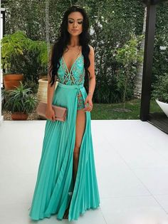 A-line V-neck See Through Lace Appliqued Sexy Long Prom Dresses APD278 - SheerGirl