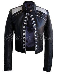Leather Skin Women Black Leather Jacket with Diamond White Buttons Leather Skin, Black Leather, Black Women Fashion, Womens Fashion, Studded Leather Jacket, Black Parade, Ladies Party, Leather Fashion, Motorcycle Jacket