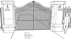See professional driveway entrance gates, sketches, material information and dimensions to help you decide. Driveway Design, Front Yard Design, Driveway Landscaping, Entrance Design, Gate Design, Landscaping Ideas, Front Gates, Entrance Gates, Entrance Ideas