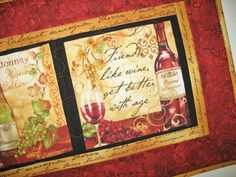 Wine Table Runner or Wall Art   fabric from by PicketFenceFabric, $39.00