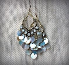 Shell Dangles Brass Rhinestone Mother of Pearl by Cheshujewelry, $22.00