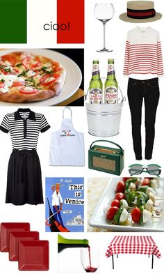 italian inspiration, stripes, venice caprese salad, peroni, Kristen Giorgi, red plates, vino, wine glass