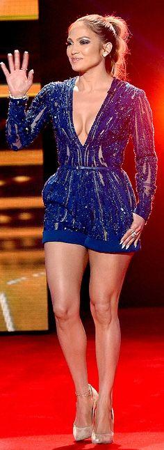 Jennifer Lopez's sexiest American Idol finale dresses - blue Elie Saab romper