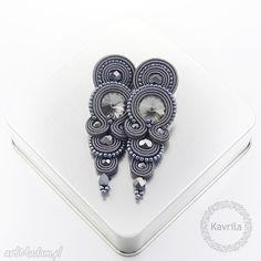 Photo from kavrila Soutache Necklace, Tassel Earrings, Boho Jewelry, Handmade Jewelry, Bracelet Patterns, Shibori, Beaded Embroidery, Jewerly, Dark Grey