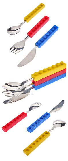 Lego clip together cutlery set! Spoon, fork and knife - love! #product_design