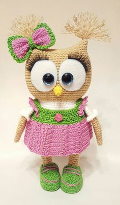 Cute owl in dress amigurumi pattern