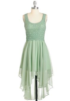 This Sway And That Dress - Green, Solid, Crochet, Daytime Party, Boho, A-line, Sleeveless, Spring, Woven, Better, Long, Chiffon, Scoop
