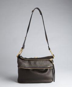 Chloe black leather zip pocket Vanessa medium crossbody bag