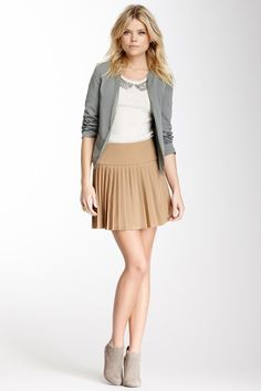 Necessary Objects Solid Pleated Skirt by Non Specific on @HauteLook booties