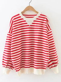 SheIn offers Contrast Striped Drop Shoulder Lantern Sleeve Sweater & more to fit your fashionable needs. Latest Street Fashion, Color Block Sweater, Winter Wear, Dressmaking, Lanterns, Contrast, Drop, Street Style, Fashion Outfits
