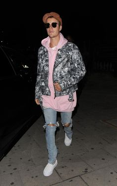 Justin Bieber wearing Dior 0204s Sunglasses, Vans Vault Woven Leather Og Classic Slip-on LX in 50th Checkerboard/White and Lmdn Distressed Pink Hoodie